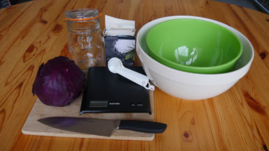 what you will need to make fermented pickled red cabbage