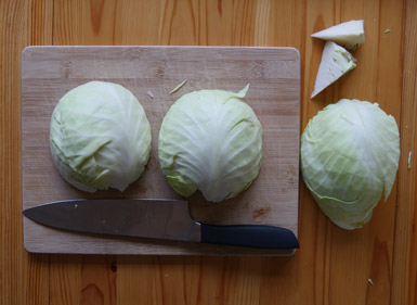 Cabbage ready to be chopped for the making of sauerkraut